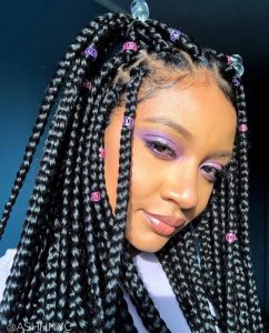 Box Braids With Colorful Beads and Bubbles