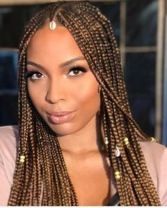 Box Braids With Gold Beads and Cowrie Shells