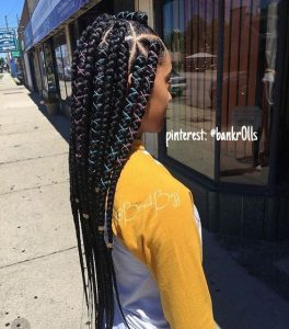 Chunky Triangle Part Box Braids With Colored Cord
