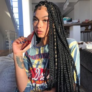 Long Box Braids With Gold Cord