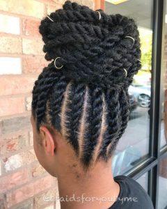 Flat Twist High Bun With Hair Rings