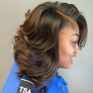 Shoulder-Length Sew-In With Waves