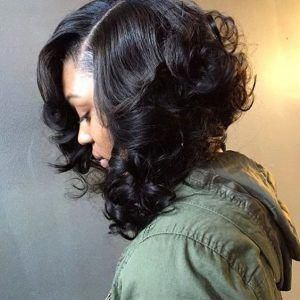 Side Part Sew-In Bob With Curled Ends