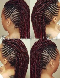 Mohawk Braids and Twists With a Hint of Red