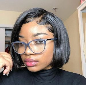 Black Bob Lacefront Wig With Baby Hairs