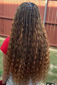 boho box braids with curly hair using rubber band method