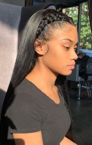 bone straight half sew in with french twists
