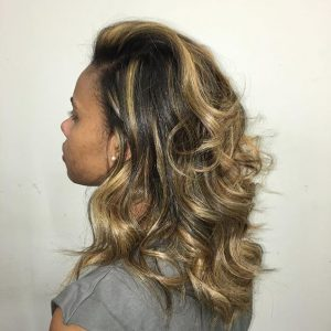 half sew in with blond highlights