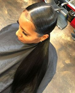 low ponytail half sew in