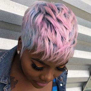 pastel blue and pink 27 piece wig