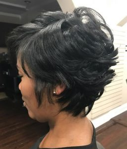 swept back layers on 27 piece pixie wig