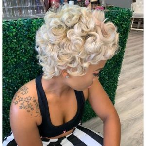 white blond 27 piece wig with curls