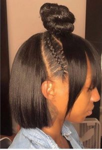 half up half down sew in with curtain bang and cornrow detail