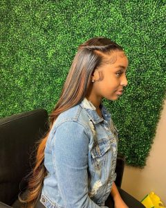 half up half down sew in with flat twists