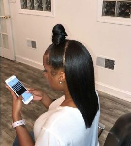 half up half down sew in with top knot