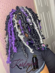 purple grey and black butterfly locs